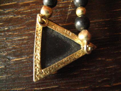 außergewöhnliches vintage Designer Collier Onyx 333er Gold Kugel Kette Dreieck - Vorschau 3