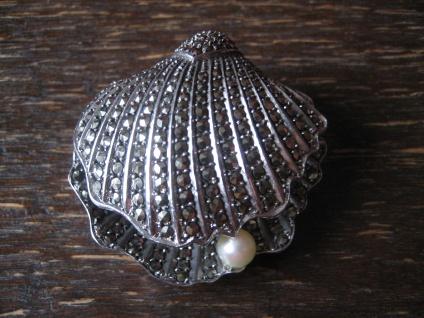 prächtige Art Deco Markasit Brosche Muschel Perle 925er Silber in TOP Zustand