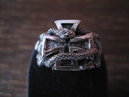 prächtiger Biker Ring Eisernes Kreuz EK Schlange 925er Silber neu et Nox RG 68