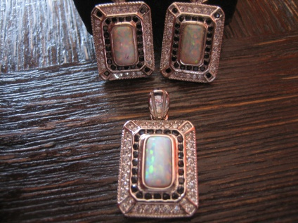 prächtiger Anhänger Art Deco Stil 925er Silber Zirkonia weißgold opal diamant ?