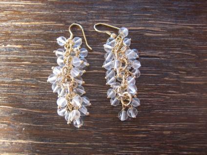 zauberhafte Ohrringe Hänger Ohrhänger Bergkristall gold bewegliche Trauben NEU