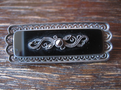 hochelegante Art Deco Brosche Nadel Onyx Markasit 835er Silber Meistermarke