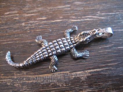 witziger großer Anhänger Krokodil Alligator Kaiman beweglich 925er Silber