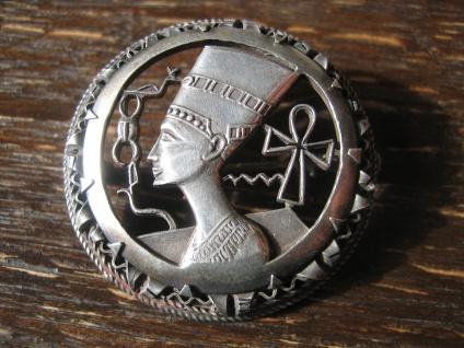 exklusiver Art Deco Anhänger Brosche Nofretete Königin von Ägypten 835er Silber