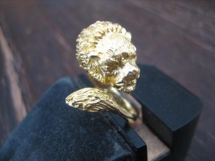 prächtiger Jugendstil Ring Löwe Löwenkopf 800er Silber gold vergoldet 17, 5 - 18