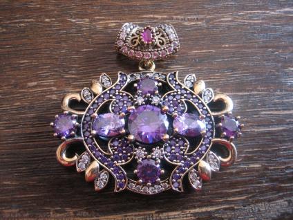 Kronjuwelen gesucht ? opulenter riesiger Amethyst Anhänger 925er Silber gold