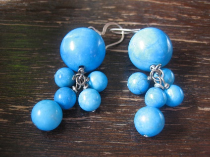 Vintage Ohrringe Hänger Ohrhänger Chandeliers blau - türkis Kugeln beweglich