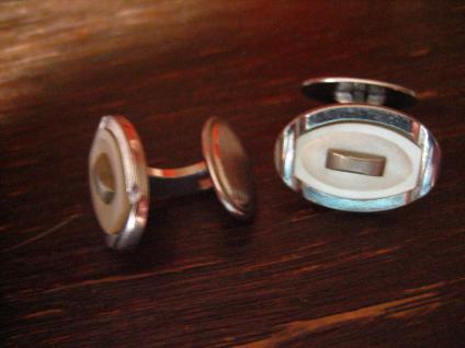 zeitlos elegante Art Deco Manschettenknöpfe oval Perlmutt Einlage silber Chrom - Vorschau 2