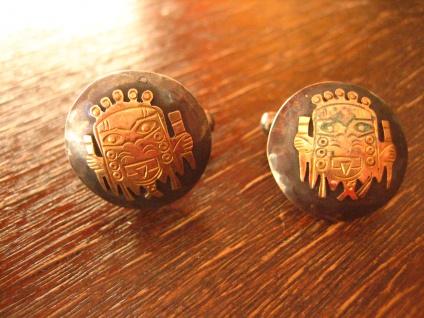 vintage Manschettenknöpfe Maya Azteken Gott 925er Silber + 750er Gold Handarbeit