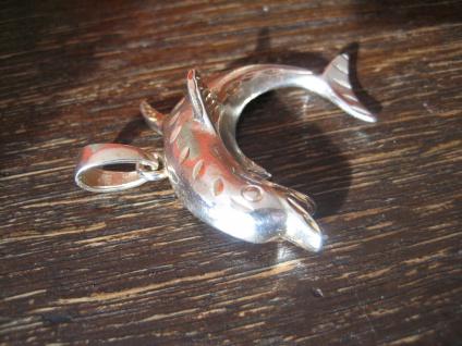 großer vintage Anhänger spielender Delfin Delphin Dolphin Pendant 925er Silber - Vorschau 2