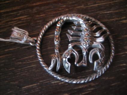 großer Art Deco Markasit Anhänger Sternzeichen Skorpion Horoskop 925er Silber - Vorschau 3