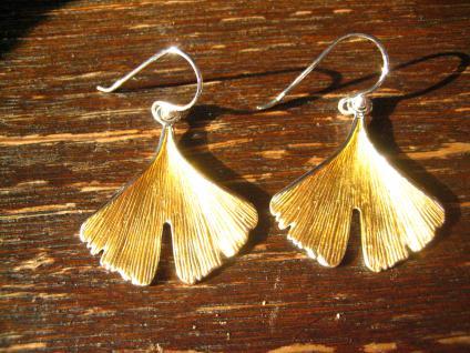 große Gingko Ginkgo Blatt Ohrringe Hänger 925er Silber gold fein ausgearbeitet