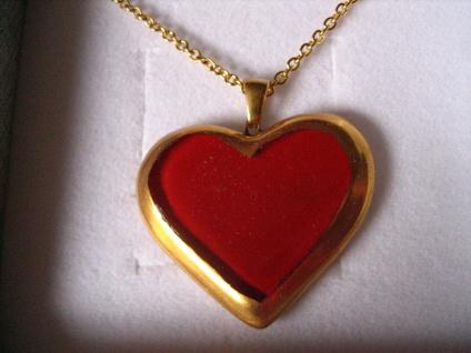sehr edler Herz Anhänger rot gold an Kette NEU Kunsthandwerk Arts & Crafts