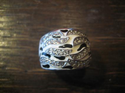 moderner edler breiter Designer Ring 925er Silber Emaille schwarz weiß Zirkonia - Vorschau 2