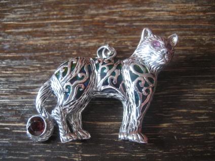 prächtiger Anhänger Brosche Tiger Leopard 925er Silber Emaille enamel Pendant