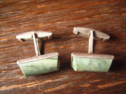 ausgefallene Jugendstil Manschettenknöpfe grüner Stein grün Jaspis 800er Silber