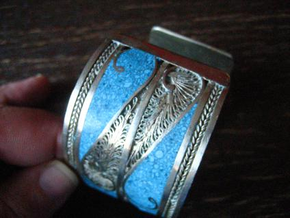 prächtiger Vintage Silber Armreif Armspange Türkis Handarbeit Ethno Berber - Vorschau 3