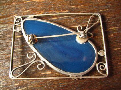 ausgefallene Designer Vintage Silber Brosche Achat Druse blau Arts & Crafts - Vorschau 2