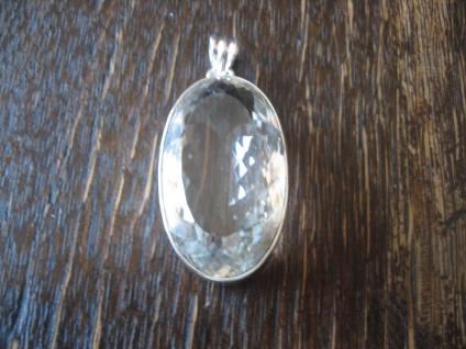 atemberaubender Statement Anhänger riesiger Bergkristall sehr klar 925er Silber