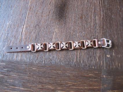 cooles Biker Armband Herrenarmband Leder Eisernes Kreuz EK et Nox braun 21 cm
