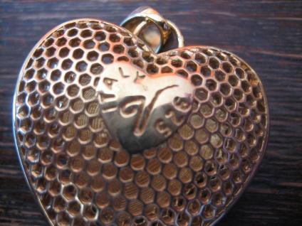 Liebesgrüße aus Italien edler vintage Designer Herz Anhänger 925er Silber gold - Vorschau 4