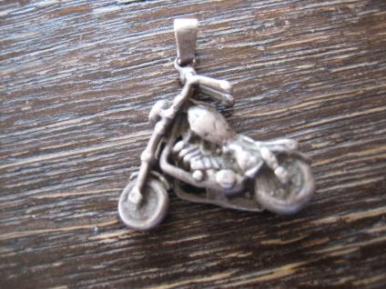 starker vintage Anhänger Motorrad Biker Chopper 925er Silber vollplastisch