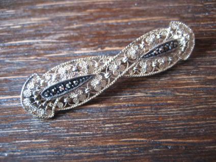 elegante Jugendstil Markasit Brosche Krawattennadel 835er Silber Filigranarbeit - Vorschau 2