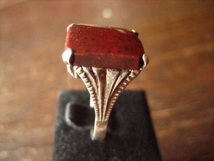 klassischer feiner Art Deco Ring Siegelring Jaspis 835er Silber 18 mm RG 57 - Vorschau 3