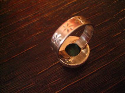 prächtiger Vintage Designer Ring Malachit strahlend grün 925er Silber RG 58 - Vorschau 4
