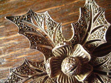große Art Deco Markasit Brosche Weihnachtsstern Stern Blume Blüte 835er Silber - Vorschau 5