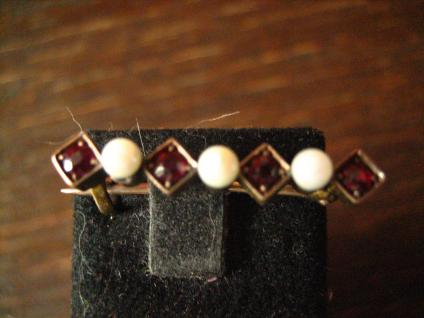 elegante Jugendstil Krawattennadel Stabnadel Brosche Granat Perlen 585er Gold - Vorschau 1