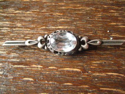 edle Art Deco Krawattennadel Brosche Stabnadel 835er Silber Stein aquamarin blau - Vorschau 1