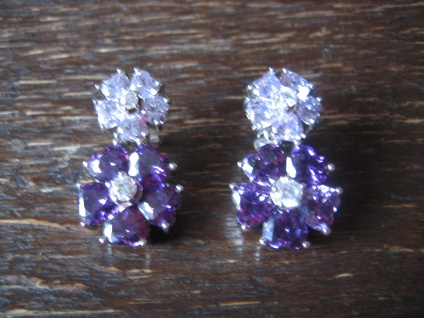 Kronjuwelen gesucht ? opulente Ohrringe Hänger 925er Silber Zirkonia Amethyst - Vorschau 1