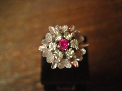 prächtiger 70er Jahre Designer Ring Weißgold Optik Rubin 925er Silber rhodiniert