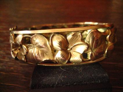 wunderschöner Jugendstil Armreif gold Veilchen antiker Modeschmuck Dirnd Tracht