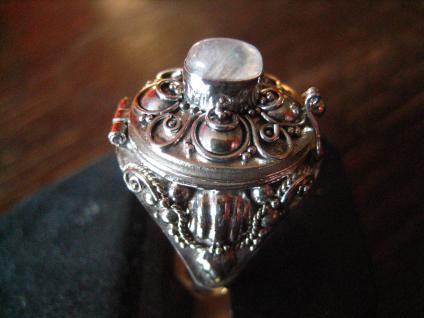 prächtiger Giftring Mondstein Ring zum Öffnen 925er Silber reich verziert RG 60 - Vorschau 2