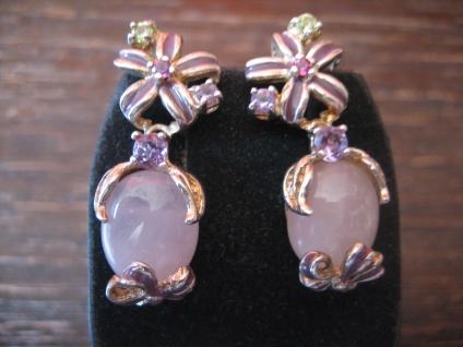 romantische vintage Ohrringe Hänger 925er Silber Rosenquarz Emaille Blüte