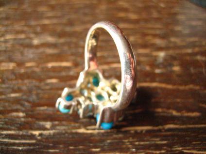 prächtiger vintage Designer Ring Cocktailring 925er Silber Türkis aquamarin blau - Vorschau 4