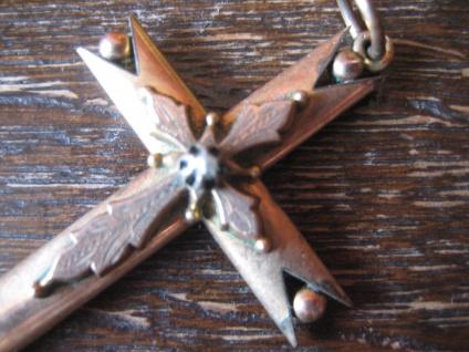 nostalgischer Biedermeier Kreuz Anhänger aufgesetztes Kreuz Perle gold Doublé - Vorschau 3