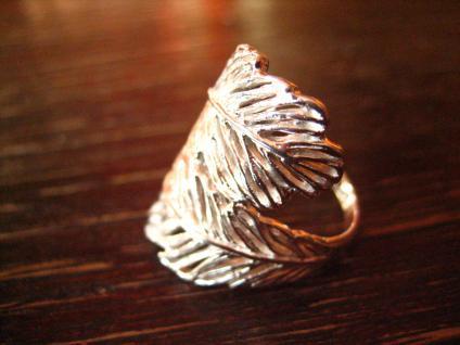 super schöner moderner Feder Ring ultra breit 925er Silber NEU RG 56 17, 5 mm - Vorschau 2