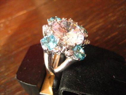 funkelnder vintage Designer Ring Cocktailring 925er Silber Topas Blautopas RG 62 - Vorschau 3