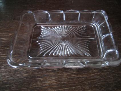 praktische große Art Deco Pressglas Platte mit Stern Muster rechteck 22 x 17 cm - Vorschau 2