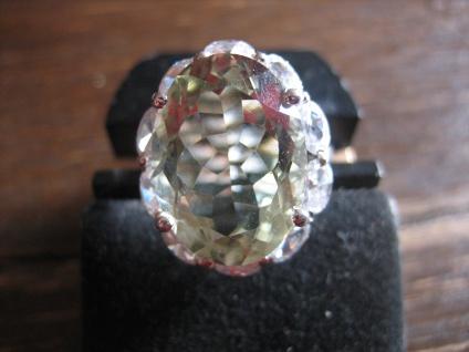 Kronjuwelen gesucht ? opulent Unikat Ring Topas Zirkonia 925er Silber grün RG 54