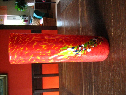 flammend Orange Murano Glas Muranoglas Vase Zylindervase Überfangglas Handarbeit - Vorschau 1