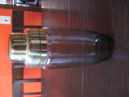 eleganter vintage Cocktail Shaker Cocktailshaker Rauchglas Glas gold 60er Jahre