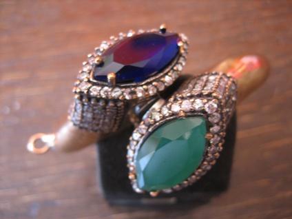 Kronjuwelen gesucht ? prunkvoller Zirkonia Smaragd Saphir Armreif 925er Silber