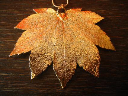 Schätze der Natur Anhänger Full Moon Ahorn gold neu Handarbeit an Kette exquisit