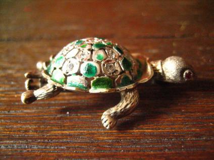 super niedliche Schildkröte vintage Brosche 925er Silber Emaille plastisch - Vorschau 2