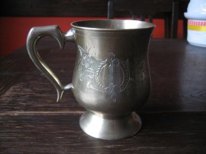 sehr edler Silberbecher Pub Becher silper pl England graviert witzig als Vase