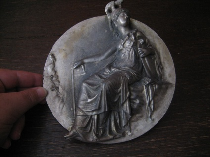 prächtiger Jugendstil Türbeschlag Möbelbeschlag 16 cm Göttin Athene plastisch